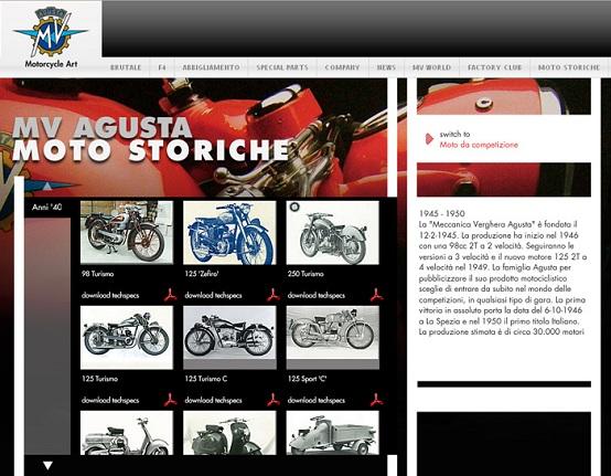 Moto Storiche, il museo virtuale di MV Agusta sul web