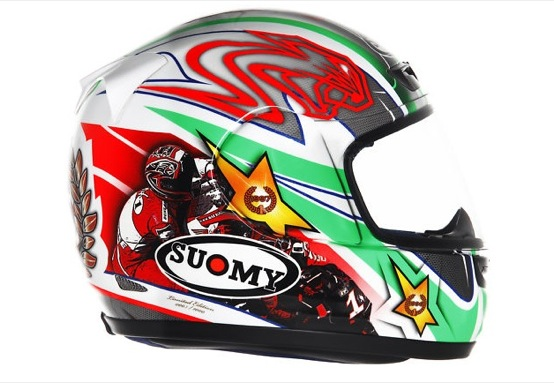 Max Biaggi, casco Suomy Apex di Bargy all'asta su eBay per beneficenza