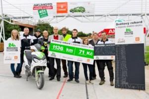 Akumoto fa il record: 1136 Km con un scooter elettrico