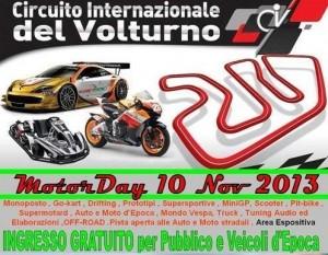 """Il 10 novembre il Circuito Internazionale del Volturno ospiterà la prima edizione del """"Motorday"""""""