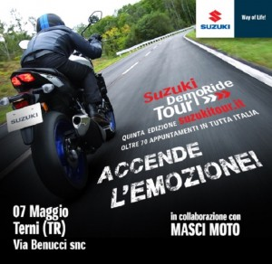 Suzuki DemoRide Tour 2016: sabato 7 e domenica 8 maggio a Bergamo, Terni, Torino e Roma