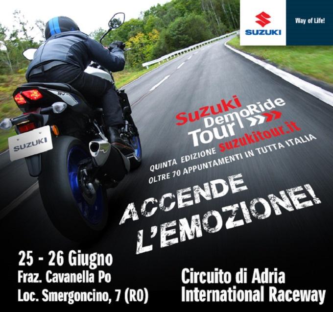 Suzuki DemoRide Tour 2016, il 25 e 26 giugno a Verbano-Cusio-Ossola, Cuneo e all'autodromo di Adria