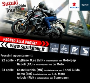 Suzuki DemoRide Tour 2017: 22 e 23 aprile a Milano, Napoli, Mantova e Roma