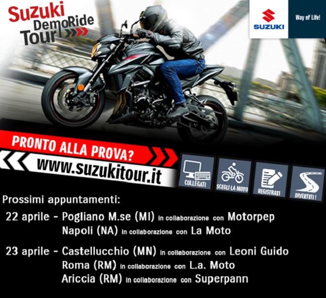 Suzuki DemoRide Tour 2017: 22 e 23 aprile a Milano, Napoli, Mantova
