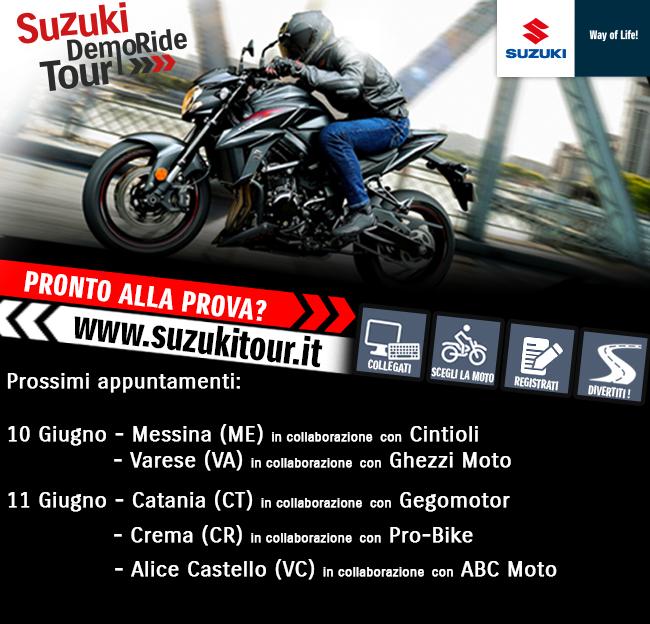 Suzuki DemoRide Tour 2017: 10 e 11 giugno in Sicilia, Lombardia e Piemonte