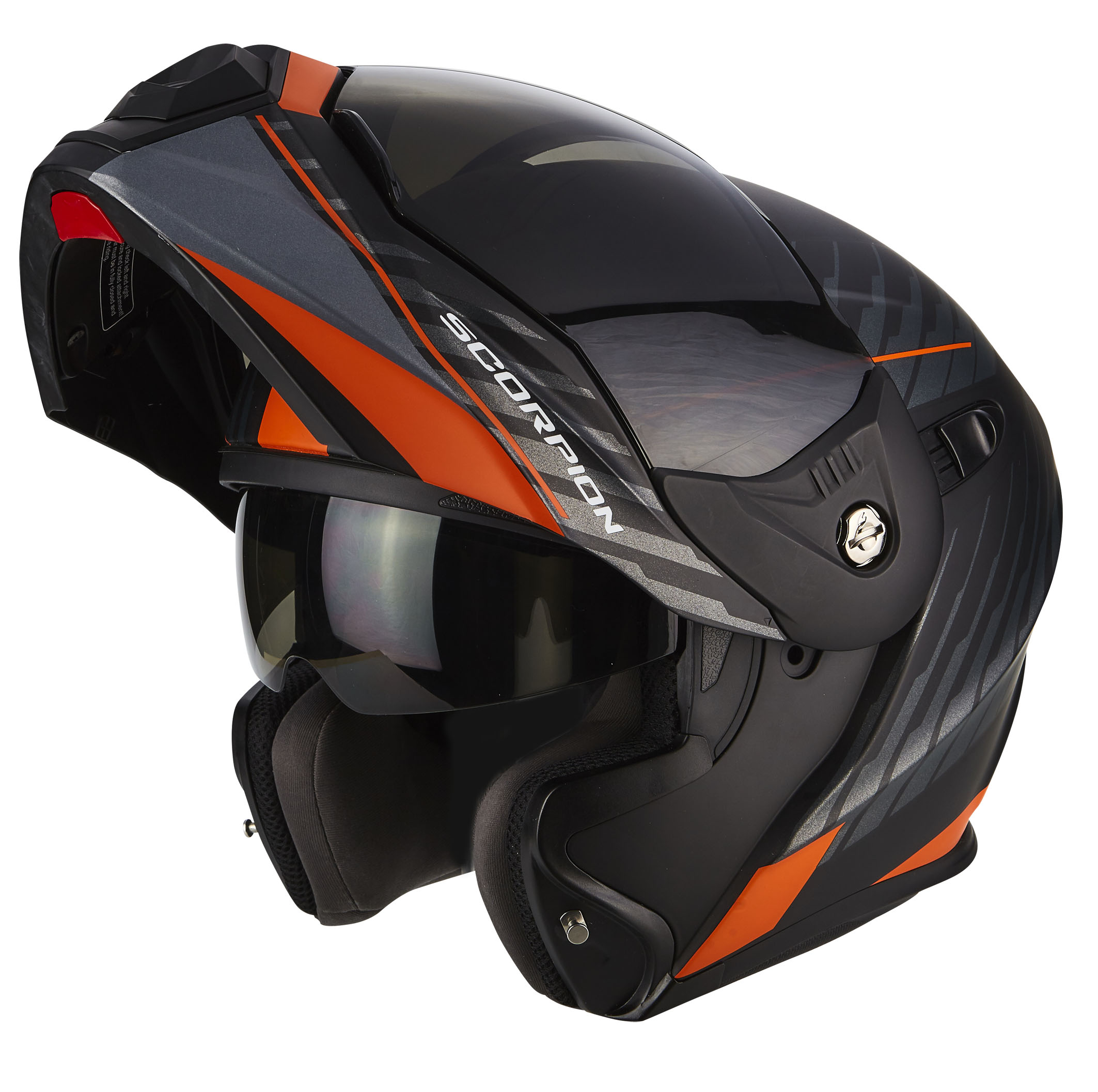 ADX-1 DUAL Matt Black-Silver Orange-Open no visor
