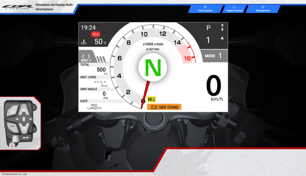 Honda CBR1000RR-R Fireblade - simulatore della strumentazione